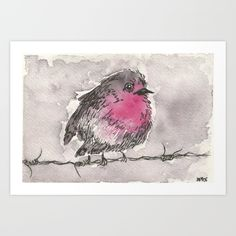 """A delightful print of a miniature watercolor painting by Sarah Joyce depicting a chubby, fluffy red breasted robin sitting on barbed wire. Loose ink pen lines and fine brush strokes give this fat bird a soft rounded texture. Simple color scheme, red-breasted, bird, birds, watercolors, monochrome, monochromatic, grey. 10""""x7"""" $18"""