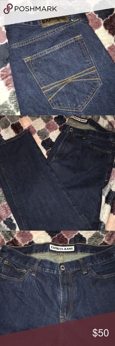 Men's Express Jeans Size 34x32, worn a handful of times. Great quality Jeans. They Rocco slim fit straight leg style. Dark denim. Express Jeans Slim Straight