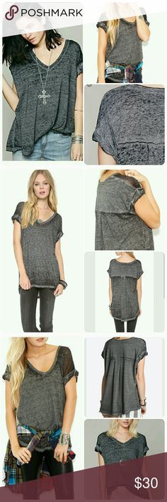 Free people basic v-neck burnt out tee Charcoal black, folded up short sleeve, oversized loose, thin, runs big EUC Free People Tops Tees - Short Sleeve