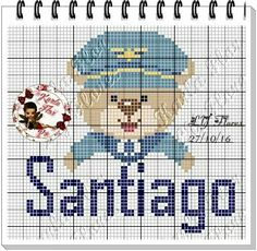 Easy Cross Stitch Patterns, Simple Cross Stitch, Cross Stitch Alphabet, Boy Names, Smurfs, Projects To Try, Kids Rugs, Bear, Crafts