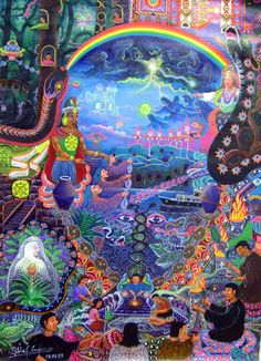 Pablo Cesar Amaringo Shuña was a Peruvian artist, renowned for his intricate, colourful depictions of his visions from drinking the entheogenic plant brew ayahuasca Illustrations, Illustration Art, Psychadelic Art, Acid Art, Psy Art, Arte Popular, Indigenous Art, Visionary Art, Urban Art