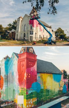 Alex Brewer, otherwise known as HENSE, is an artist from Atlanta with a colourful, abstract, graffiti-inspired contemporary style. He was recently hired to create a massive mural on a historic but derelict church in a waterfront neighborhood of Washington, D.C.