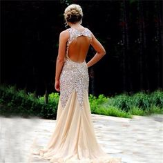 Sparkle Rhinestone Open Back Prom Dresses, Popular Sexy Mermaid Prom Dresses