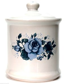 Corelle Corning Blue Velvet Tea Canister w/ Lid by Jay Imports White & Blue Rose #CorelleCorning