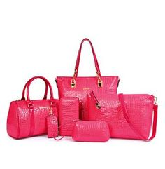 Crocodile Pattern Handbag PU Leather Bag Six Pieces Set
