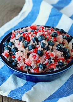Phase 1 (sub xylitol for honey) Red, White & Blue Quinoa Fruit Salad - Quinoa gets the sweet treatment in this refreshing dish that makes the perfect Fourth of July salad. Use 4 cups fruit to serve 4 (1 fruit + 1/2 grain serving per person).