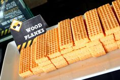 Wood plank cookies at a construction birthday party! See more party ideas at CatchMyParty.com!