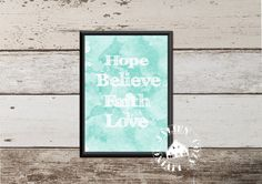 Hope Believe Faith Love  Digitale Poster door JalienCozyLiving