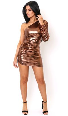Take metallics to another level and keep the compliments coming in our Metallic Copper Ruched One Shoulder Dress.
