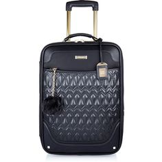 River Island Black quilted wheelie suitcase (195 AUD) ❤ liked on Polyvore featuring bags, luggage and accessories