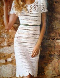 Белое нарядное платье крючком узором из пышных столбиков. Вяжем красивое летнее платье крючком