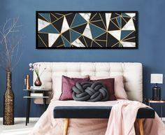 be7c887e2 Quadros Abstrato Geométrico Triângulos Azul Pretro Dourado Decoração  Moderna Ideias de Decoração Casa Sala Parede Decorada