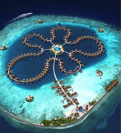 Unas 185 villas flotantes de lujo conforman la Flor del Océano, en Las Maldivas.