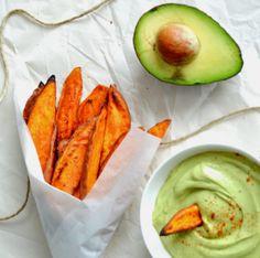 3 Healthy Sweet Potato Fries With Avocado Dip
