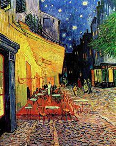 Van Gogh, Terrazza del caffè la sera, Place du forum, Arles..... Van Gogh, Terrace of coffee in the evening...Nicholas Marihan.....