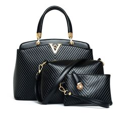 V-shaped Stripe Handbags in Black (3pc-set), 50% discount @ PatPat Mom Baby Shopping App
