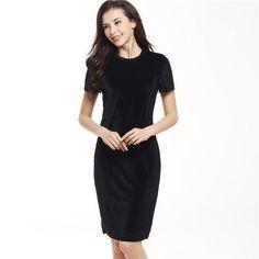 Elegant Short Sleeve O-Neck Velvet Pencil Dress