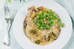 Kip met romige preisaus uit de slowcooker Rice In Crockpot, Crock Pot Slow Cooker, Slow Cooker Recipes, Multicooker, A Food, Chicken Recipes, Dinner Recipes, Healthy Eating, Meals