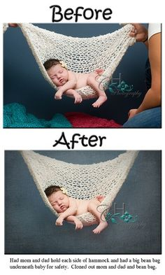 Hanging hammock baby photo and tons of other behind the scene newborn photography! Love these pictures!