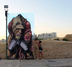 """The Beast"", a new street piece by WD in Valletta, Malta"