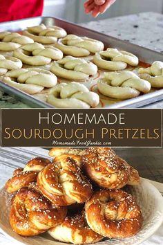 These homemade sourdough pretzels are easy to make and so incredibly scrumptious. With a satisfyingly firm crust and a soft chewy center that is packed with rich flavor they are perfect with creamy butter and salt. Sourdough Pretzel Recipe, Sourdough Starter Discard Recipe, Sourdough Recipes, Sourdough Bread, Bread Recipes, Homemade Soft Pretzels, Pretzels Recipe, Homemade Food, Baking Soda Bath