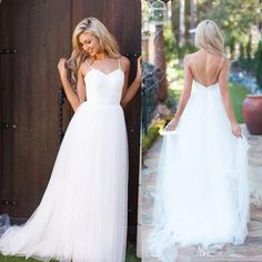 Simple Beach Wedding Dresses 2016 White A Line Sweetheart Boho Spaghetti Straps Bohemian Bridal Gowns With Sexy Backless Vestido De Noiva Gowns For Sale Halter Wedding Dresses From Cc_bridal, $110.16| Dhgate.Com