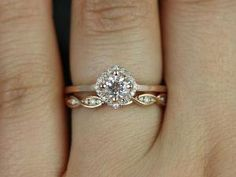 Ultra Petite Kyla & Ember 14kt Rose Gold Morganite by RosadosBox, I already have the engagement ring, this will be the wedding band and how the set will look together by mitzi