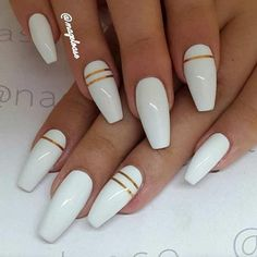 you should stay updated with latest nail art designs, nail colors, acrylic nails, coffin… - long nails White Acrylic Nails, White Nail Art, White Nails With Gold, White Coffin Nails, White Almond Nails, White Nails With Design, Acrylic Summer Nails Coffin, Acrylic Nails With Design, Acrylic Summer Nails Almond