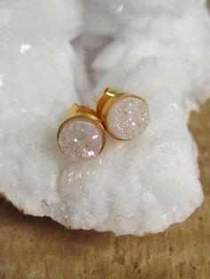 Tiny Snow White Druzy Earrings Titanium Drusy by julianneblumlo