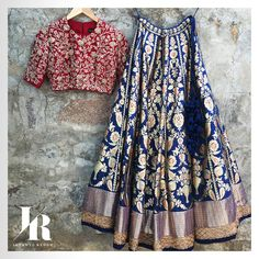 Something to glam up your Friday! Beautiful blue color benaras lehenga and red color designer blouse with hand embroidery thread work. Contact on +917330687770 or email on jayantireddyofficial@gmail.com for enquiries and orders.  03 August 2017
