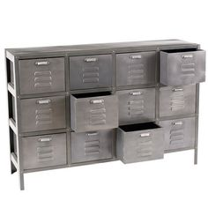 Industrial Twelve Drawer Unit - reproduction of an item found in a factory in central France.