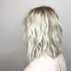 Platinum Blonde and Curly Lob Hair - Reny styles