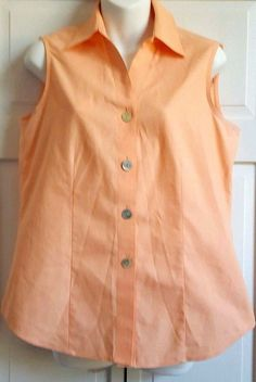 Foxcroft Womens Shirt SIZE 6 Peach Non Iron Button Front Sleeveless Cotton EUC  #Foxcroft #ButtonDownShirt