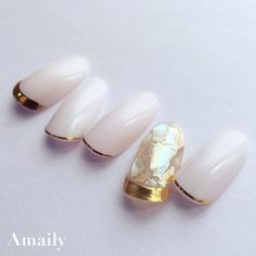 Amaily Japanese Nail Art Sticker / Fine Lines / Gold Perfect Nails, Gorgeous Nails, Love Nails, Pretty Nails, Nail Design Stiletto, Nail Design Glitter, Sculpted Gel Nails, Magic Nails, Kawaii Nails