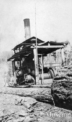 "Steam donkey in operation (1909) ""Possibly Pidcock's donkey engine, in operation on Quadra Island.""  Yeatman Fonds - CR Museum"