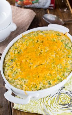 Cheesy Broccoli Rice Casserole. Use sharp cheddar or cheeses of your preference in place of processed cheese. Add butter tossed crushed ritz crackers or panko bread crumbs on top. Yummy!