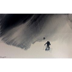 In a Swirl of Blowing Snow - Watercolor painting (S n y f o k k). Beautiful and dangerous weather. And sometimes, life is too. (read all at www.rutheart.com)