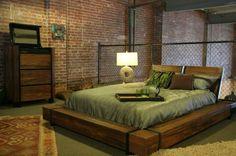Habitación decorada con estilo industrial
