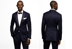 Navy tux in a cool midnight blue hue. Crafted from fine Italian wool the jacket boasts slim peak lapels in contrasting black satin. Slim body and low button stance.    Read More http://www.gq.com/style/blogs/the-gq-eye/2013/01/back-in-stock-jcrews-navy-ludlow-tuxedo.html#ixzz2HxXqb1dn