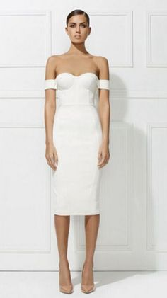 White celebrity bandage bodycon dress cocktail club evening party off the  shoulder knee length Chloe Dress 00f1685bbe