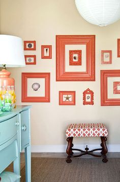 Collect old frames and paint them to match to fill a wall on a tight budget (eclectic living room by Tobi Fairley Interior Design) Empty Frames, Frames On Wall, Painted Frames, White Frames, Large Frames, Empty Wall, Framed Wall, Acrylic Frames, Hanging Frames