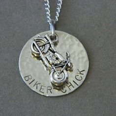 Biker Chick Motorcycle Necklace by WireNWhimsy on Etsy, $28.00