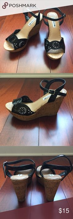 American Eagle Chopout High Wedge Sling Black Good Condition. 4 inch Wedge. Color: Black. Only wore once! AMERICAN EAGLE BY PAYLESS IS NOT A PRODUCT OF AMERICAN EAGLE OUTFITTERS. American Eagle by Payless Shoes Wedges