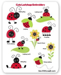 Cute Ladybug Sayings | Cute Ladybugs Embroidery Layout