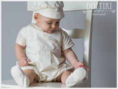 Baby Boy Baptism Outfit in White or Ivory or Ceam  Boys Silk