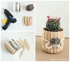 Cute little cactus pot DIY Home Crafts, Diy Home Decor, Diy And Crafts, Crafts For Kids, Popsicle Stick Crafts, Craft Stick Crafts, Craft Sticks, Craft Ideas, Creation Deco
