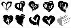 "Awesome Big Wet Kisses. Big fat brush hearts made with japanese brushes handmade brushes and sumi ink...these brush hearts are not romantic and twee these brushes are like BIG WET KISSES! A tiny fee to the paypal account of info@kennethcain.com would be so appreciated with your download of these brushes...$5 or so would help keep me brushing.... Also as a teacher of brush lettering I would LOVE to see what you are doing with some of my brush heart ""brushes""!  #brush #Day #heart #hearts #love…"