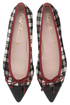 Lena Tartan Printed Poni in Black and White with Black Patent Toe and Red Trim Pretty Ballerina Shoes, Pretty Ballerinas, Pretty Shoes, Loafer Flats, Loafers, Best Flats, Fresh Shoes, Kinds Of Shoes, Shoe Boots