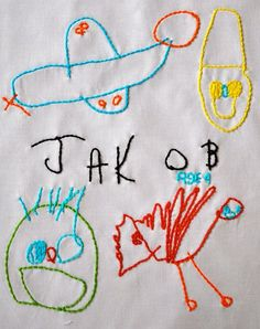 take child's artwork, scan it, blow it up and stitch! GREAT Idea