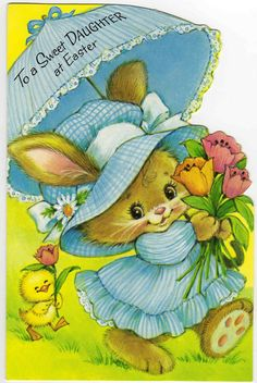 vintage easter card - cute bunny girl with darling chick following her